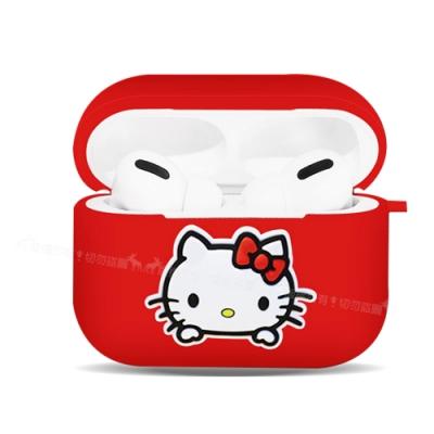 三麗鷗授權 Hello Kitty 蘋果AirPods Pro 藍牙耳機盒保護套(凱蒂紅)