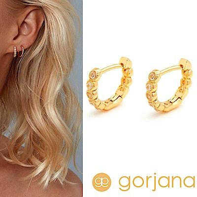 GORJANA Madison Shimmer 迷你小圓耳環 C型鑲鑽耳環 金色