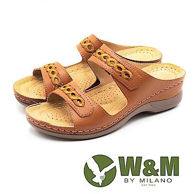 W&M 超輕量坡跟刺繡花紋雙帶拖鞋 女鞋 - 棕(另有藍)