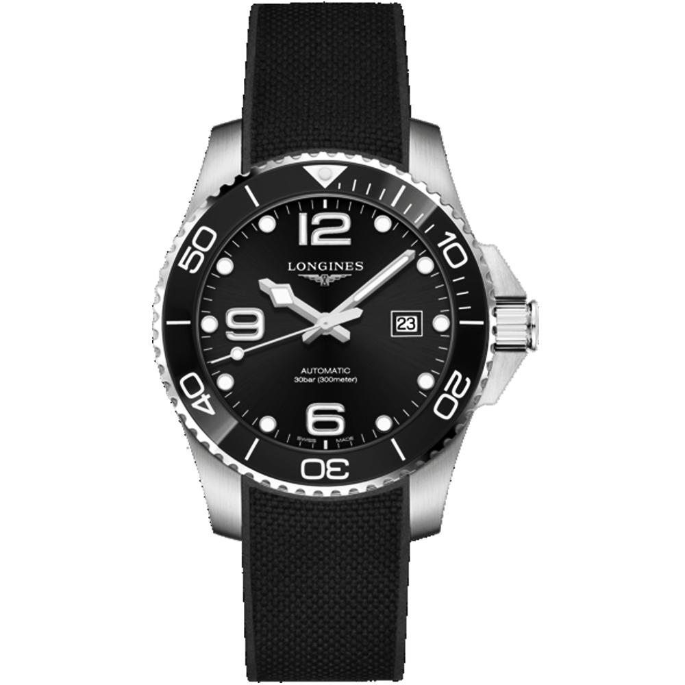 LONGINES浪琴征服者系列陶瓷潛水機械錶-橡膠帶(L37824569)