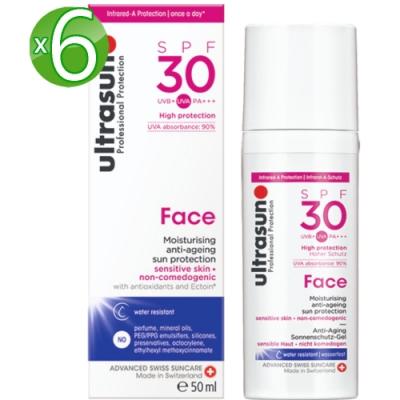 Ultrasun優佳 護顏修護防曬乳SPF30*6入組PA+++(50ml/罐)