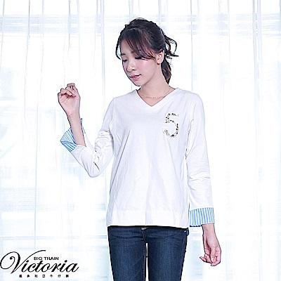 Victoria 異材質拼接V領長袖T-女-白