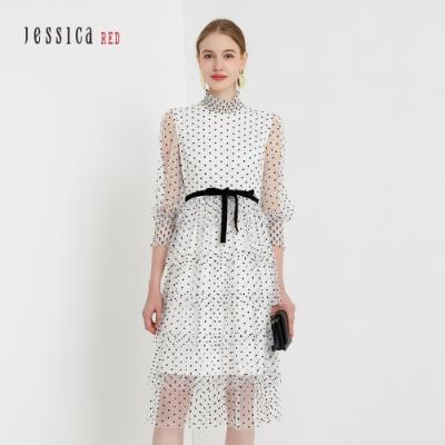 JESSICA RED - 白色浪漫甜美波點網紗蛋糕裙透膚長袖洋裝