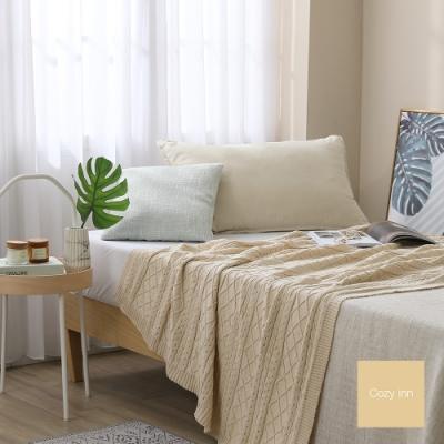 Cozy inn 北歐風菱格麻花針織萬用蓋毯-卡其