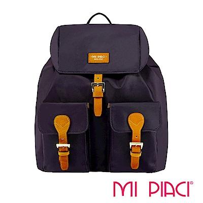 MI PIACI-PANDORA系列雙口袋翻蓋後背包紫色-1880517