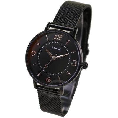 WY威亞 探索視界米蘭黑帶錶-黑盤銀針