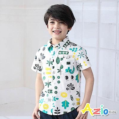 Azio Kids 上衣 滿版樹葉花草單口袋短袖襯衫(白)