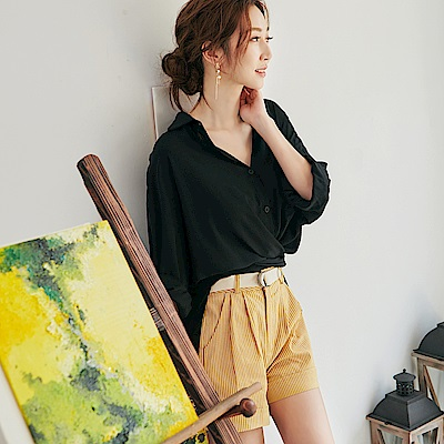 IREAL 條紋撞色壓摺修身短褲(附腰帶