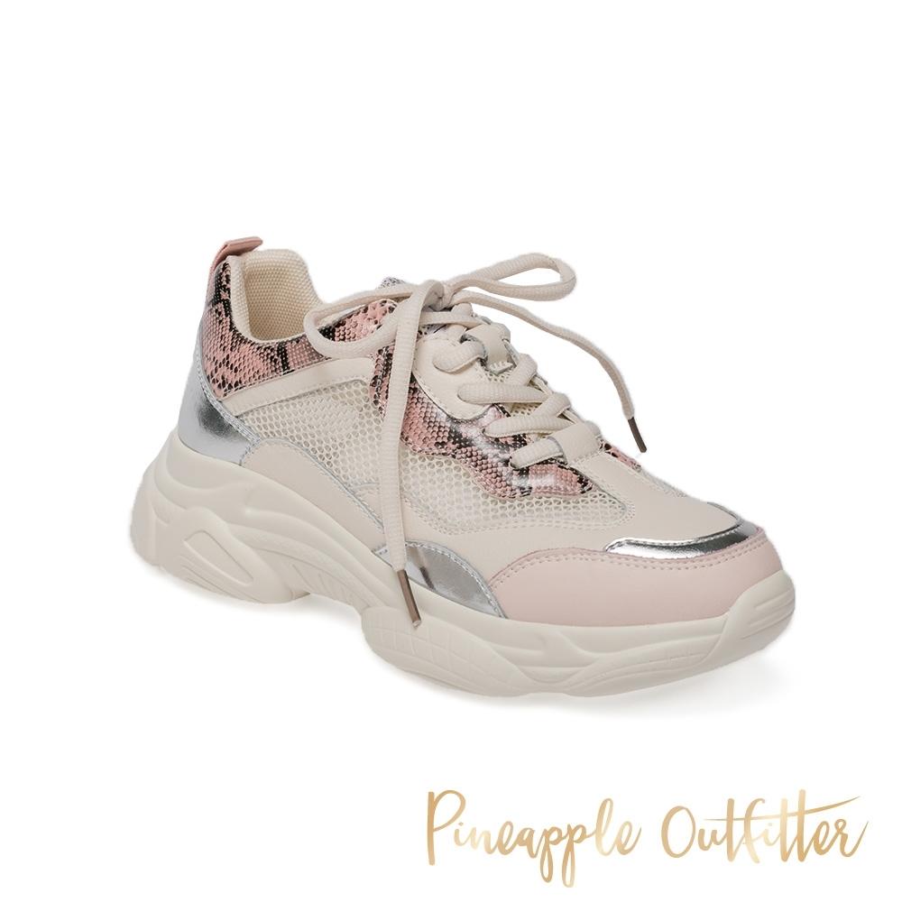 Pineapple Outfitter-CANNA-1 時尚潮流拼接休閒老爹鞋-蛇皮粉