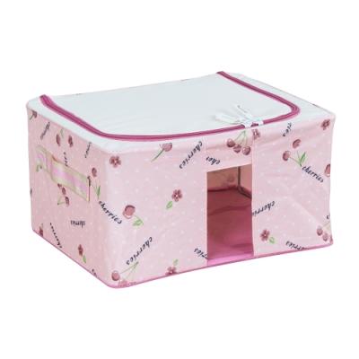 樂嫚妮 11L防潑水單視窗文件桌面收納箱/折疊收納箱-粉-30X24X15cm