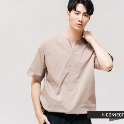 H:CONNECT 韓國品牌 男裝 -簡約素面短袖襯衫 - 卡其