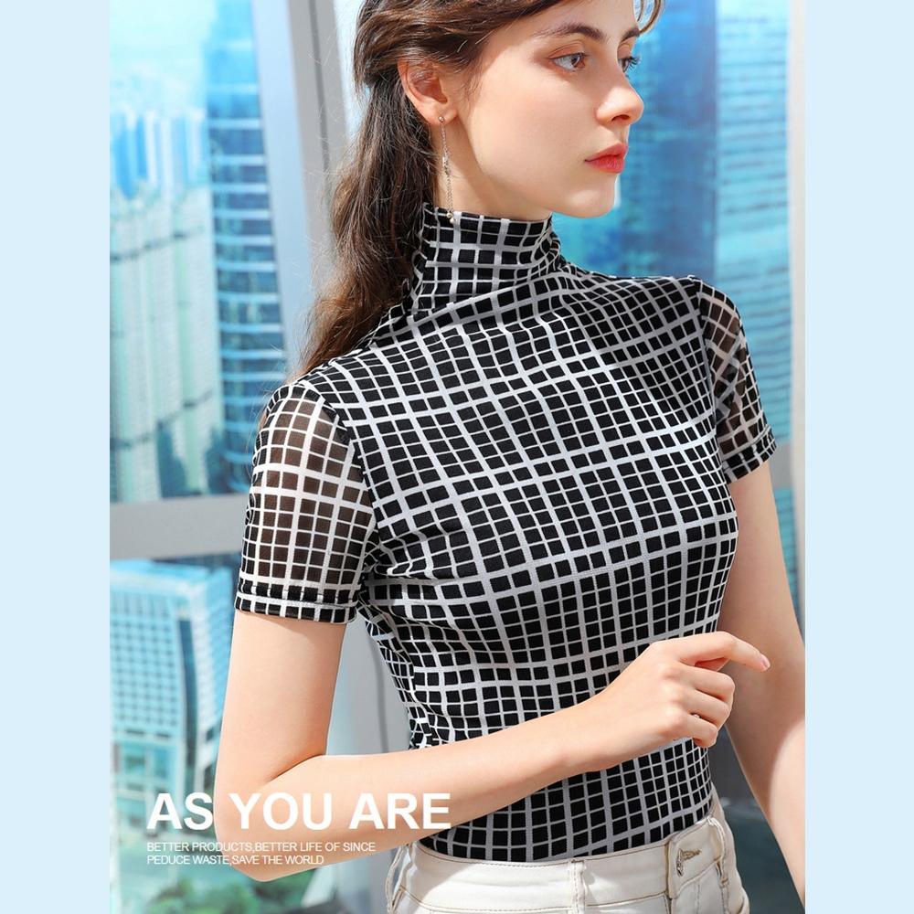 專注內搭-短袖T恤格子高領網紗內搭衫薄版緊身上衣(S-3XL可選)