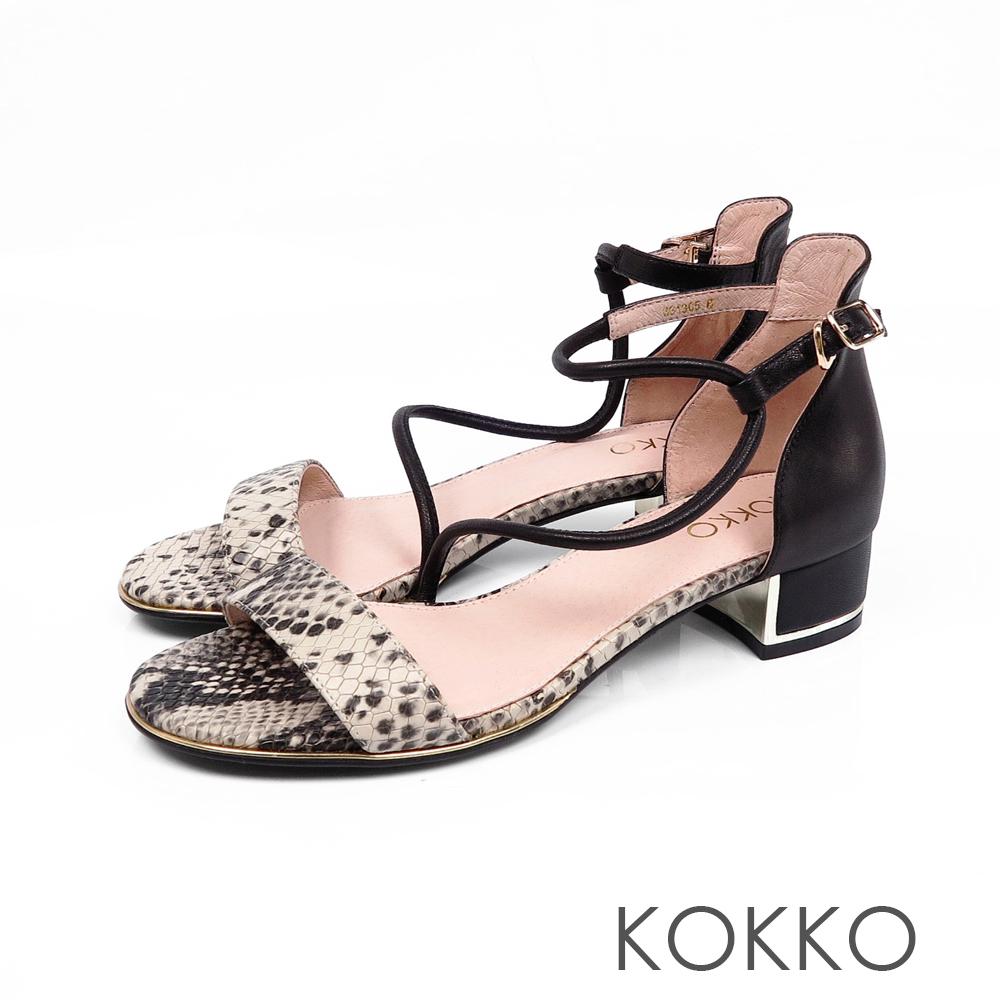 KOKKO東大門一字細帶真皮粗跟涼鞋蛇紋黑