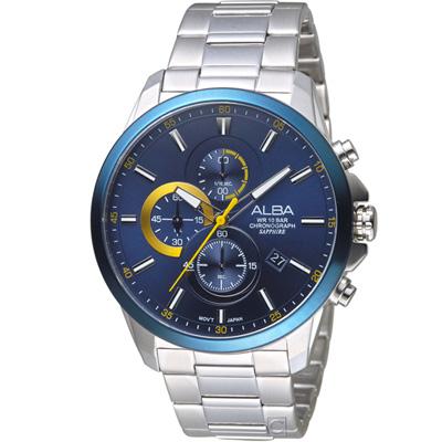 ALBA 雅柏 戰略神鷹計時腕錶(AM3663X1)藍/44mm