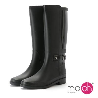 mo.oh愛雨天-素面簡約拼接皮帶扣長筒雨靴-黑