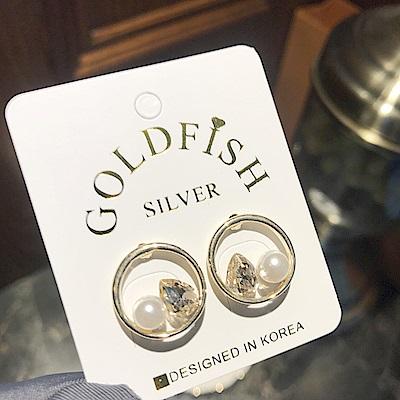 梨花HaNA 韓國925銀針輕奢水滴珠寶圓圈耳環