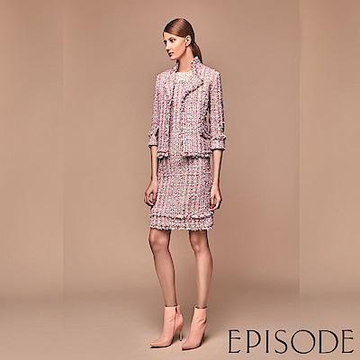 EPISODE - 短袖透膚蕾絲拼接混色毛呢洋裝