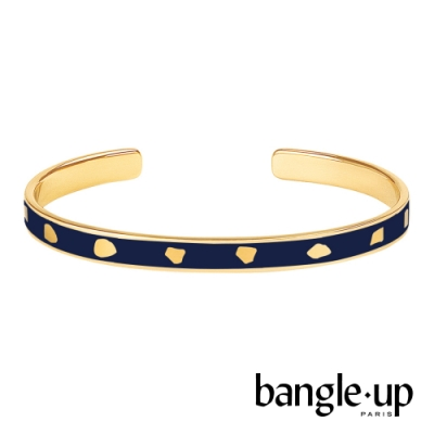BANGLE UP 幾何不規則印花琺瑯鍍金開口手環 -午夜藍