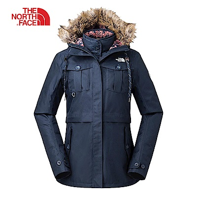 The North Face北面女款藍色防水保暖三合一外套|3L7GJTL
