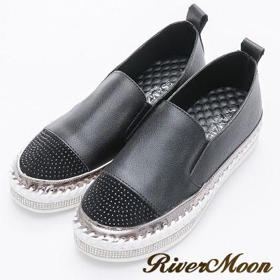 River&Moon韓版細鑽拼接素面鑽石厚底懶人鞋-黑