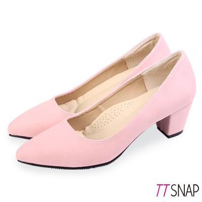 TTSNAP中跟鞋-MIT高雅修長粗跟尖頭鞋 粉