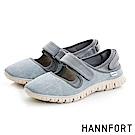 HANNFORT ZERO GRAVITY超輕量時尚丹寧黏扣帶休閒鞋-女-淺水藍