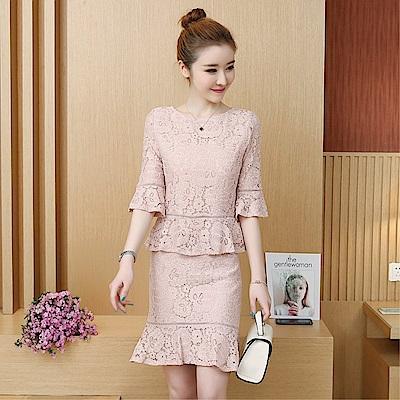 DABI 韓國風名媛氣質修身蕾絲荷葉邊套裝短袖洋裝