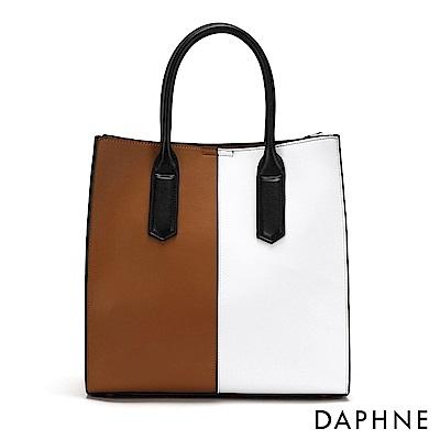 達芙妮DAPHNE-撞色手提托特包-棕