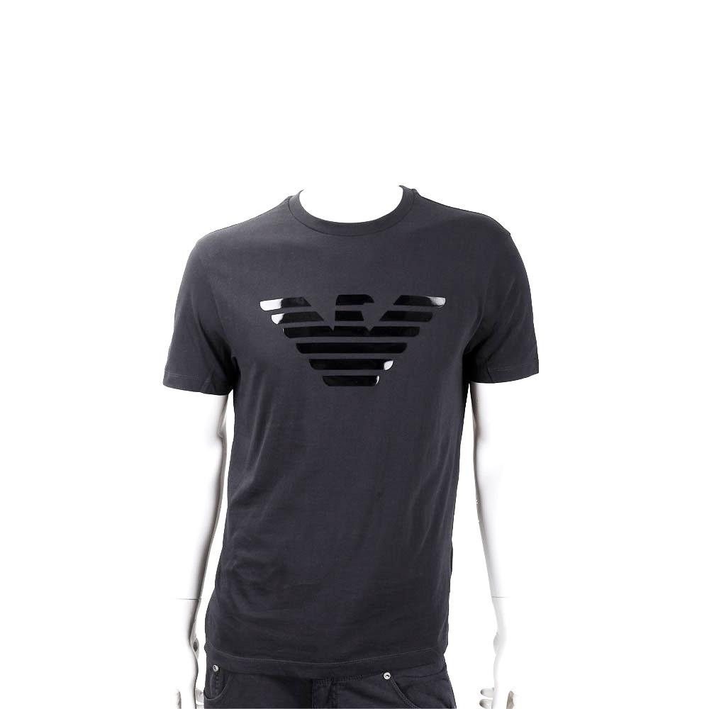 Emporio Armani 膠片老鷹標誌黑色短袖T恤(男款)