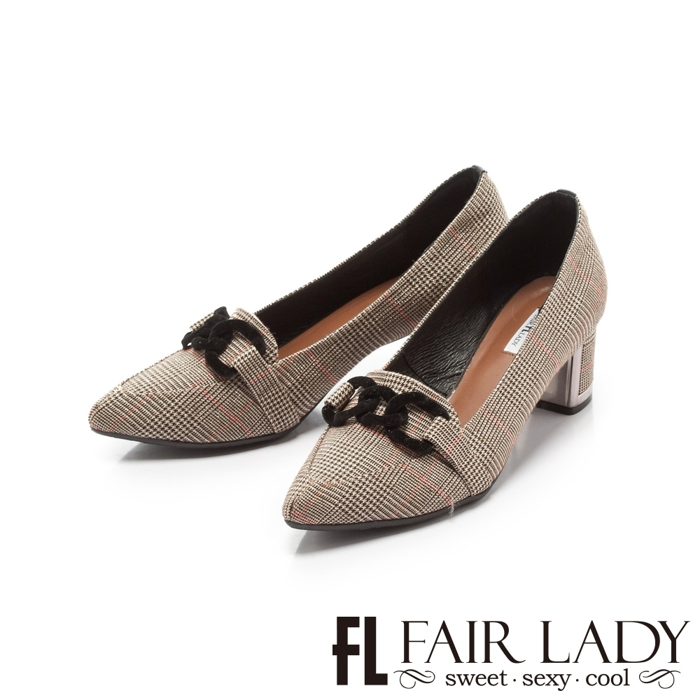Fair Lady優雅小姐Miss Elegant 扣環布紋尖頭粗跟鞋 英倫格