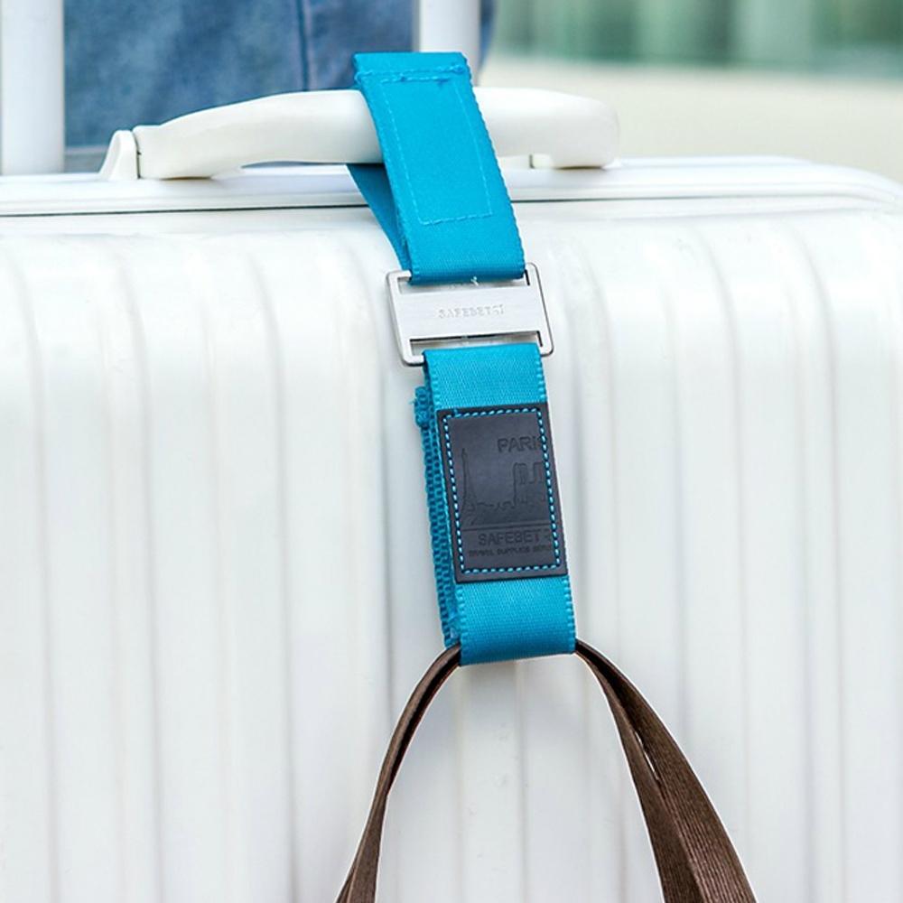 iSFun 行李箱配件 包包魔鬼氈掛帶 藍
