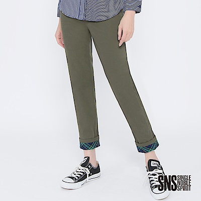SNS 英倫書僮拼接格紋反摺直筒褲(2色)
