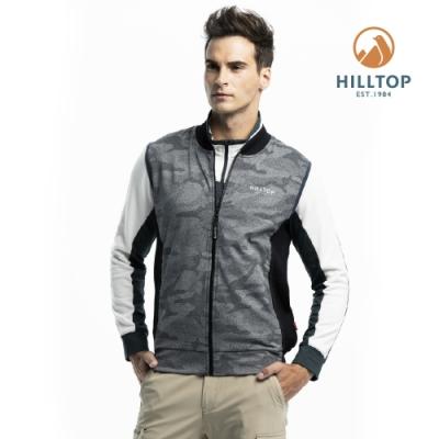 【hilltop山頂鳥】男款彈性保暖迷彩背心H25M96黑白印花