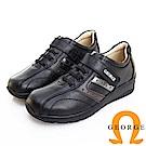 GEORGE 喬治皮鞋 氣墊系列 魔鬼氈牛皮氣墊休閒鞋-黑色