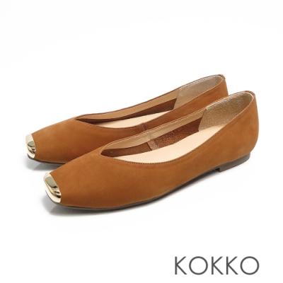 KOKKO - 漫步澄花大道金屬真皮方頭鞋-奶茶色