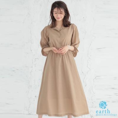 earth music 特色抓皺袖襯衫式收腰洋裝