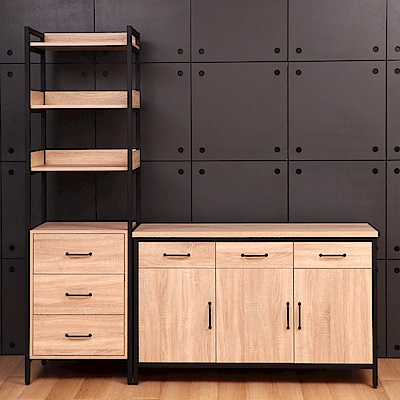 D&T德泰傢俱格萊斯原切木輕工業風三抽層架+4.5尺餐櫃-196.2x45.3x196cm