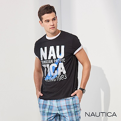 Nautica 夏威夷LOGO圖騰短袖T恤-黑
