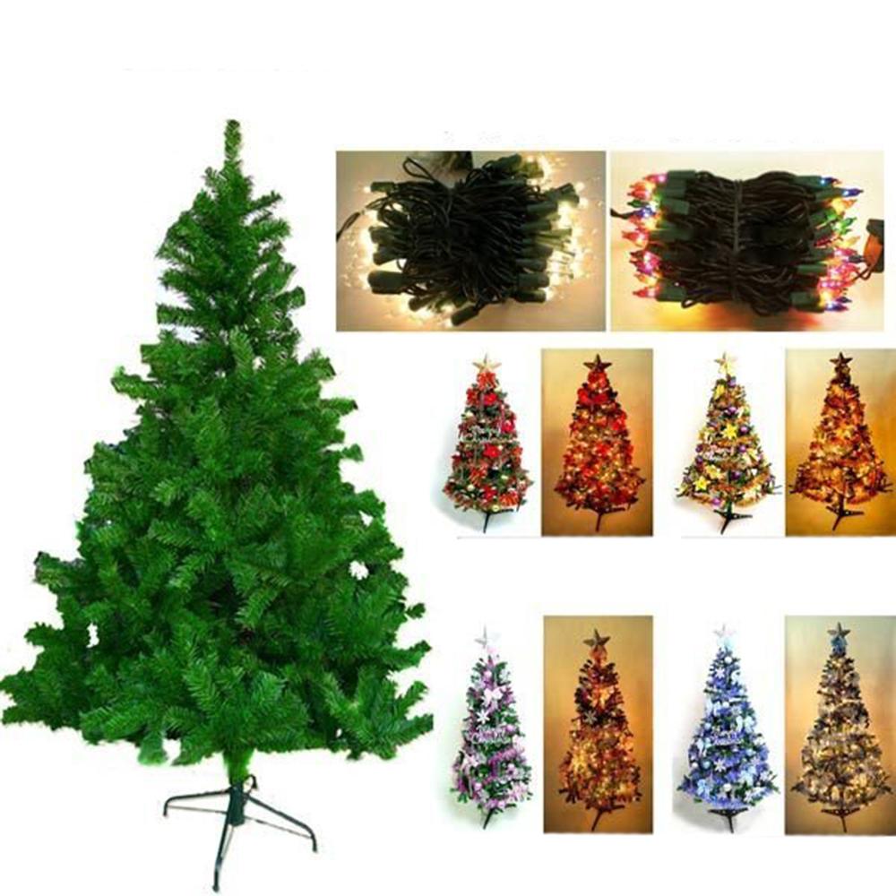 摩達客 8尺豪華版綠聖誕樹(飾品組+100燈鎢絲樹燈5串)