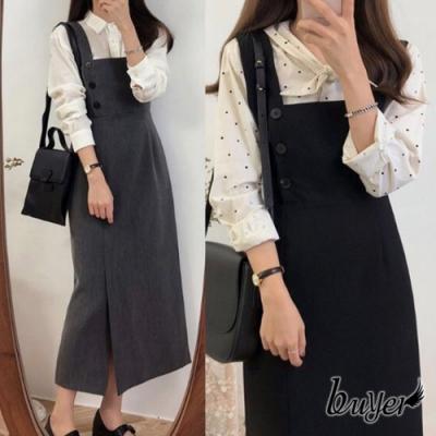 【buyer 白鵝】韓風 修身開岔顯瘦洋裝(灰色/黑色)