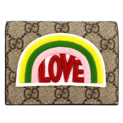 GUCCI LOVE 刺繡彩虹標誌防水帆布名片式短夾
