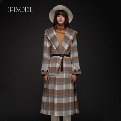 EPISODE - 格紋羊毛混紡翻領連帽長版大衣(駝色)