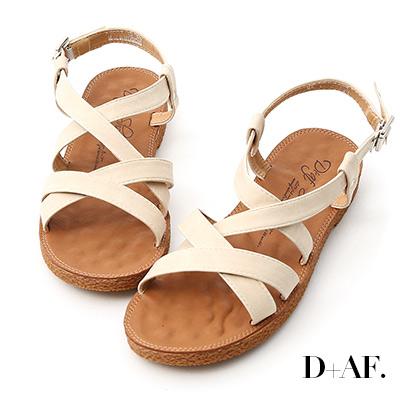 D AF 好感率真.交叉線條平底涼鞋*米