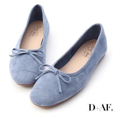 D+AF 輕快舞曲.繽紛絨料芭蕾娃娃鞋*藍