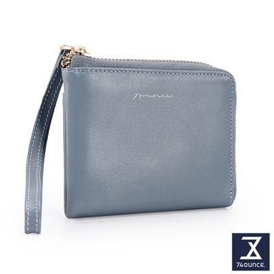 74盎司 Elegant-C真皮L型手掛零錢包[LN-771-EL-W]藍灰