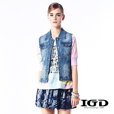 IGD英格麗都會悠閒風潑漆刷色刷破牛仔背心外套