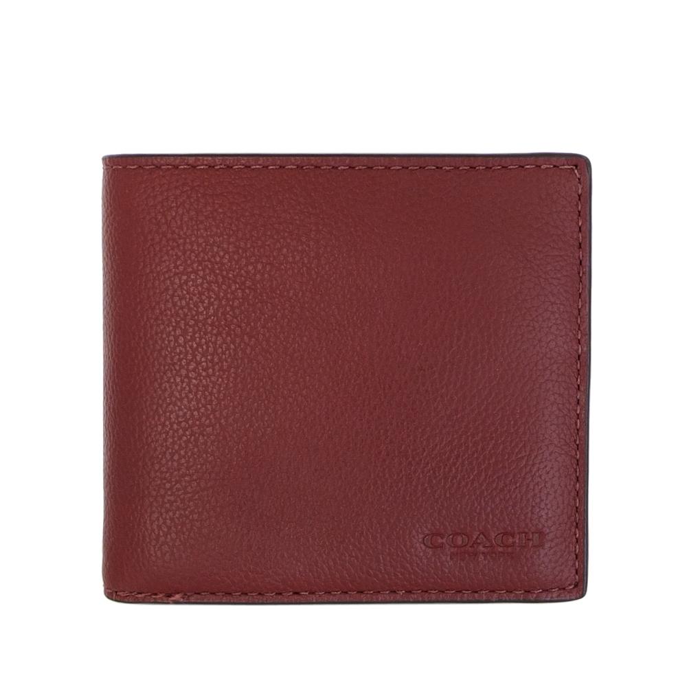 COACH酒紅荔枝紋全皮八卡雙摺對開男夾