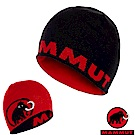 MAMMUT 長毛象 大Logo Beanie 羊毛雙層針織保暖帽_黑/岩漿紅
