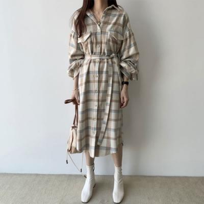 【KISSDIAMOND】格紋復古撞色長款洋裝(簡約/百搭/文青風/KDD-6675)
