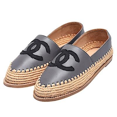 CHANEL 經典羅緞小香LOGO小羊皮鉛筆鞋(灰X黑)